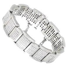 28.80ctw Princess Diamond Invisible Set Bracelet 18K White Gold F/VS