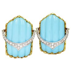 Vintage Carved Turquoise Earrings with Diamonds 18K .25ctw