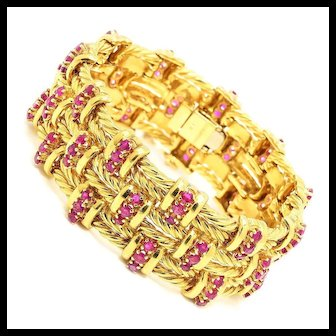 "Vintage Tiffany & Co Ruby Bracelet 18K Yellow Gold 9.00ctw 6.75"" w/ Box"