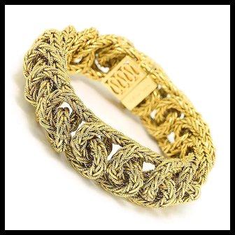 "Vintage Tiffany & Co Braided Bracelet French 18K Yellow Gold 7.25"" w/ Box"