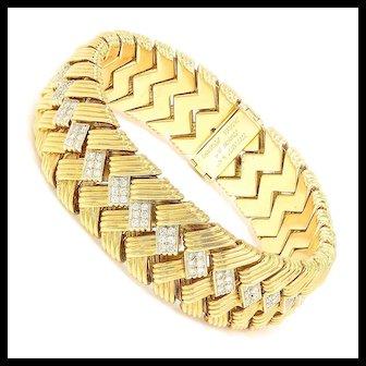 Vintage Tiffany & Co Paloma Picasso Diamond Bracelet French 18K Gold w/ Box