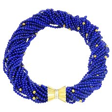 "Vintage Multi-Strand Lapis Lazuli Bead Necklace 18K Gold 16"""