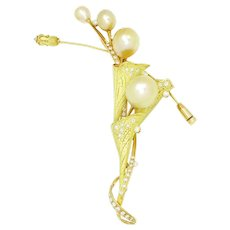 Golden South Sea Pearl Floral Pendant with Diamonds 18K Yellow Gold .93ctw