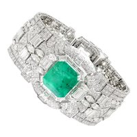 Certified Colombian Emerald Art Deco Bracelet with Diamonds 18K 38.32ctw