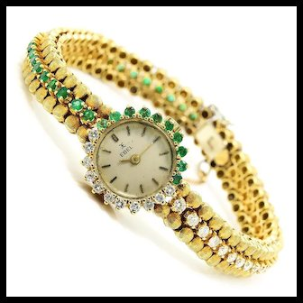 Vintage Ebel Watch by Corletto with Emeralds & Diamonds 18K Gold 3.00ctw