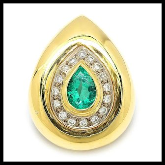 Vintage Teardrop Emerald Pendant with Diamonds 18K Two Tone Gold 2.00ctw