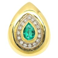 Vintage Teardrop Emerald Pendant with Diamonds 18K Two Tone Gold 2.00ctw