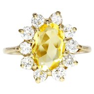 Vintage Yellow Sapphire Halo Ring with Diamonds in 14kt Yellow Gold 4.00ctw