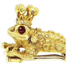 Zadora Frog Prince Brooch 18kt Gold Fancy Yellow Diamond's, Rubies & Emerald Crown