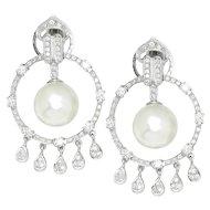 Vintage South Sea Pearl & Diamond Chandelier Earrings 18K White Gold 13MM 2.00ctw