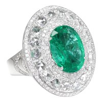 Large Oval Emerald Halo Ring with Diamonds 18K White Gold 9.00ctw