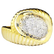 Vintage Diamond Shrimp Ring with Old Mine Cuts 14K Gold 1/2 Carat