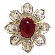 ON SALE Rubellite Indian Flower Ring with Bezel Set Diamonds in Sterling Silver 13.50ctw