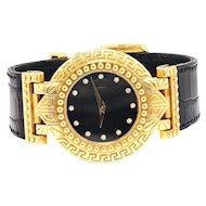 Versace Signature Diamond Watch 18K Black Crocodile Leather 31MM