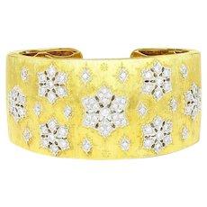 Diamond Cuff Bracelet 18K White & Yellow Gold Textured 3.00ctw H.Gold