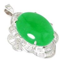 Oval Jade Pendant with Diamonds 18K White Gold 8.65ctw