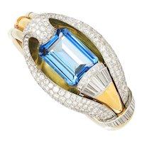 Blue Spinel Cobra Bangle with Diamonds 18K Tri-Color Gold 60.00ctw