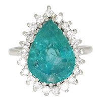 Pear Emerald Halo Ring with Diamonds 14K White Gold 6.03ctw