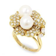 Vintage South Sea Pearl Flower Ring with Diamonds 18K Yellow Gold 2.25ctw