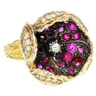 Handmade Blooming Flower Ring with Rubies & Diamonds in 14kt Gold 4.10ctw