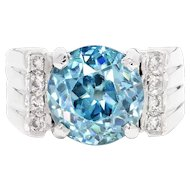 Vintage Blue Zircon & Single Cut Diamond Ring in 14kt White Gold 8.00ctw
