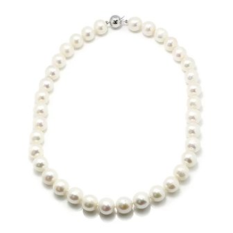 Round Cultured Pearl Necklace Strand 14K White Gold Ball Clasp 11.50mm