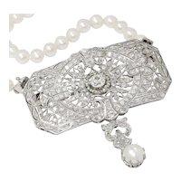 Antique Diamond Pendant & Pearl Necklace Set in Platinum 4.72ctw