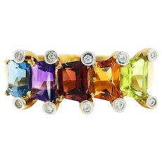 Multi-Color Trapezoidal Topaz Ring with Diamonds 18K Gold 1.30ctw