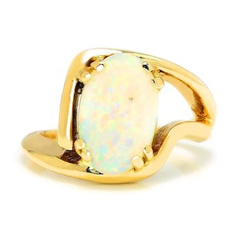 Custom Solitaire Opal Ring 14K Yellow Gold 2.23ct