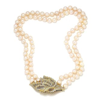 South Sea Pearl Necklace with Diamond Clasp Pendant Brooch Combo 14K 1.00ctw
