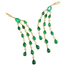 Colombian Emerald Chandelier Earrings with Diamonds 18K Yellow Gold 16.50ctw