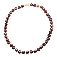 Round Cultured Chocolate Pearl Necklace 14K Yellow Gold Ball Clasp 9.75-10.25mm