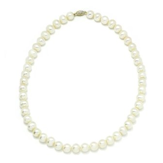 """White Cultured Pearl Necklace Strand 14K Yellow Gold Clasp 18"""" 9MM"""