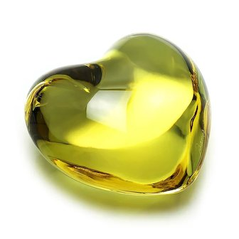 Baccarat Crystal Puffed Cupid Heart Yellow French Sculpture 3""