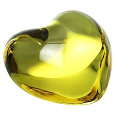 """Baccarat Crystal Puffed Cupid Heart Yellow French Sculpture 3"""""""