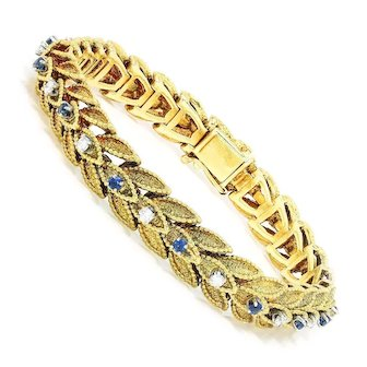 Vintage Diamond Leaf Bracelet with Blue Sapphires 18K 1.00ctw