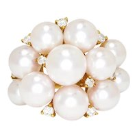Akoya Pearl Cluster Ring with Diamonds 18K Yellow Gold