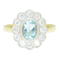 Vintage Oval Aquamarine Halo Ring with Diamonds 18K Two Tone Gold 1.50ctw
