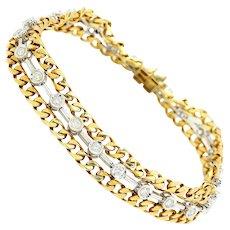 Vintage Round Diamond Bezel Set Line Bracelet 18K Two Tone Gold 1.50ctw