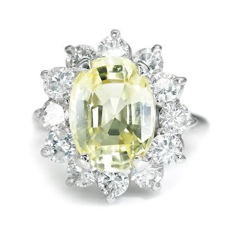 Certified Light Yellow Sapphire Halo Ring with Diamonds 14K White Gold