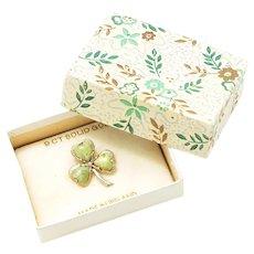 Vintage Heart Cut Jade Irish Shamrock Clover Pin 9K Gold with Box