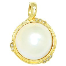 Vintage Mabe Pearl Pendant with Diamonds 14K Yellow Gold 15.50mm