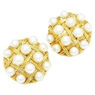 Vintage Akoya Pearl Cross Hatch Earrings 18K Yellow Gold