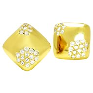 Vintage Diamond Cluster Square Earrings 18K Yellow Gold .75ctw