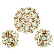 Vintage Australian Opal Pendant Earring Set with Diamonds 14K Gold 7.00ctw