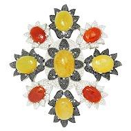 Vintage Yellow & Orange Jade Pendant Pin with Black & White Diamonds 18K White Gold 39ctw