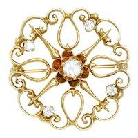Vintage Diamond Circle Filigree Brooch Pin 14K Yellow Gold .50ctw