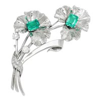 Vintage Emerald Flower Brooch Pin with Euro Diamonds 14K White Gold 3.95ctw