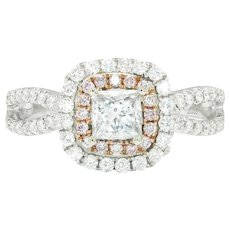 Princess Diamond Cushion Halo Engagement Ring with Fancy Pinks 18K 1.02ctw