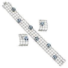Amethyst & Topaz Floral Mesh Bracelet Earring Set 14K White Gold 4.30ctw